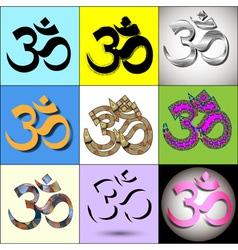 Various Om Aum Symbol vector