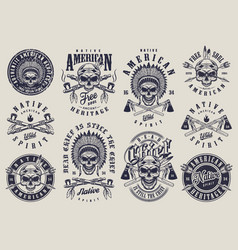 vintage native american indians labels set vector image