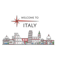 welcome to italy poster in linear style vector image