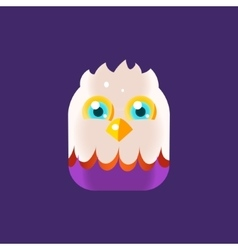 White head chick square icon vector