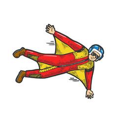 Wingsuit flying sketch vector