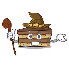 Witch tiramisu mascot cartoon style vector