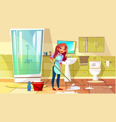 Woman cleaning bathroom vector
