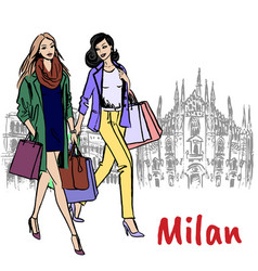 women in milan vector image