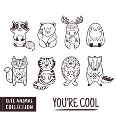 Cute animal set with cartoon characters Outline vector image vector image