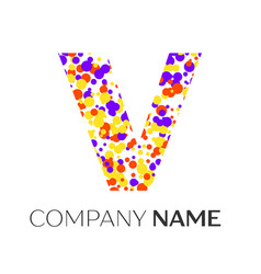 letter v logo with purple yellow red particles vector image vector image