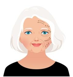 Elderly woman cosmetic rejuvenation vector image vector image