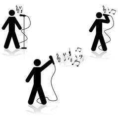 Singer in live concert vector image