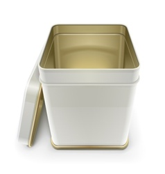 white tin box with lid vector image vector image