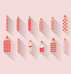 christmas candles in a flat design with long vector image