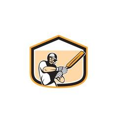 Cricket Player Batsman Batting Shield Cartoon vector image