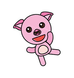 drawing piggy animal character vector image