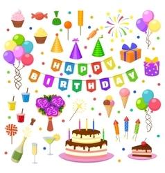 Happy birthday party symbols vector image