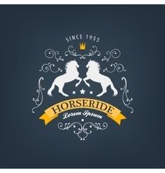 horses logo emblem Vintage style with vector image