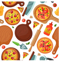hot fresh pizza banner seamless pattern icon food vector image vector image
