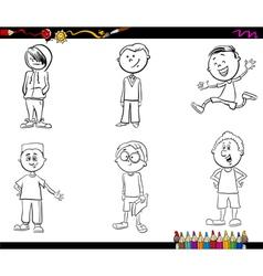 kid boys set coloring book vector image