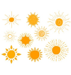 Set of Different Hand Drawn Suns vector image vector image