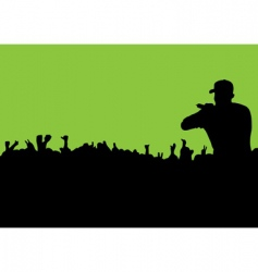 silhouette concert crowd vector image