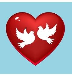 Wedding pigeons in heart vector