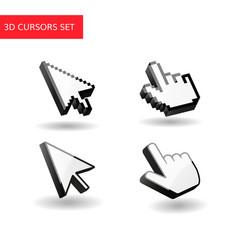 3d cursors set pixel mouse vector image vector image