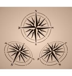 Compass roses set vector