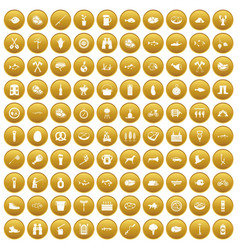 100 bbq icons set gold vector