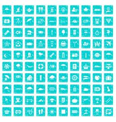 100 umbrella icons set grunge blue vector