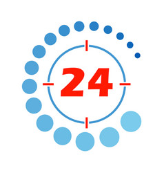 24 hours open round vector image