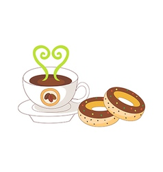 A coffee and doughnut vector