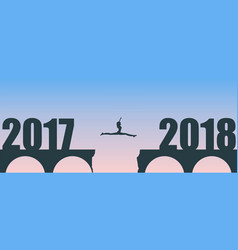A woman jump between 2017 and 2018 years vector