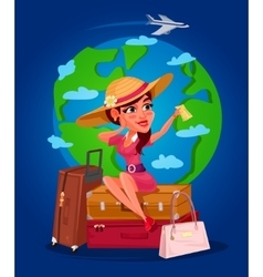 a young girl - the traveler vector image