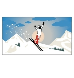 Alpine landscape skier flying in sun and vector