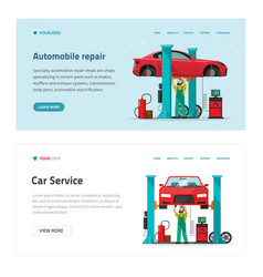 automobile repair garage service web site template vector image