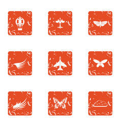 Aviation center icons set grunge style vector