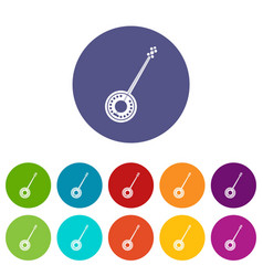 Banjo set icons vector