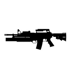 black silhouette of machine gun with launcher vector image