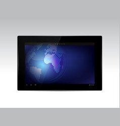 black tablet with earth globe on screen vector image