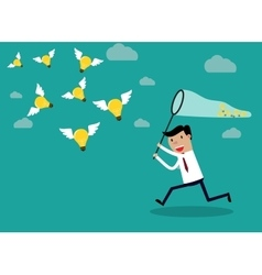 Businessman running with butterfly light bulbs vector