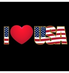 Caption I Love USA flag stylized color and purple vector