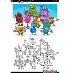 cartoon robots fantasy characters coloring book vector image
