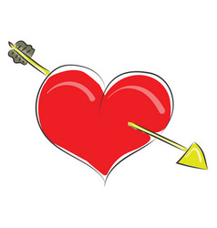 Clipart a red heart struck with an arrow or vector