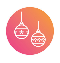 Colorful gradient christmas ball decoration line vector