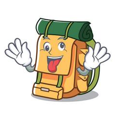 Crazy backpack mascot cartoon style vector