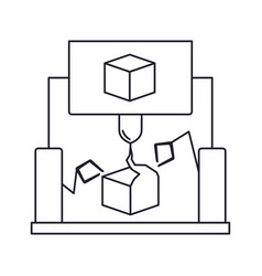 cube design with robotic hands monochrome vector image