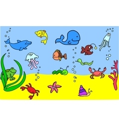 Cute Under the Sea Icon Set vector