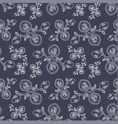 dark grey seamless pattern with abstract flowers vector image