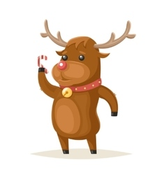 Deer Character Christmas New Year Isolated Icon vector