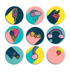 design of summer round logos vector image