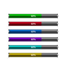 Different colors battery loading progress bar vector