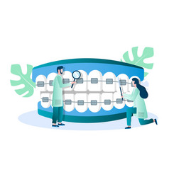 doctor orthodontist examining teeth with braces vector image